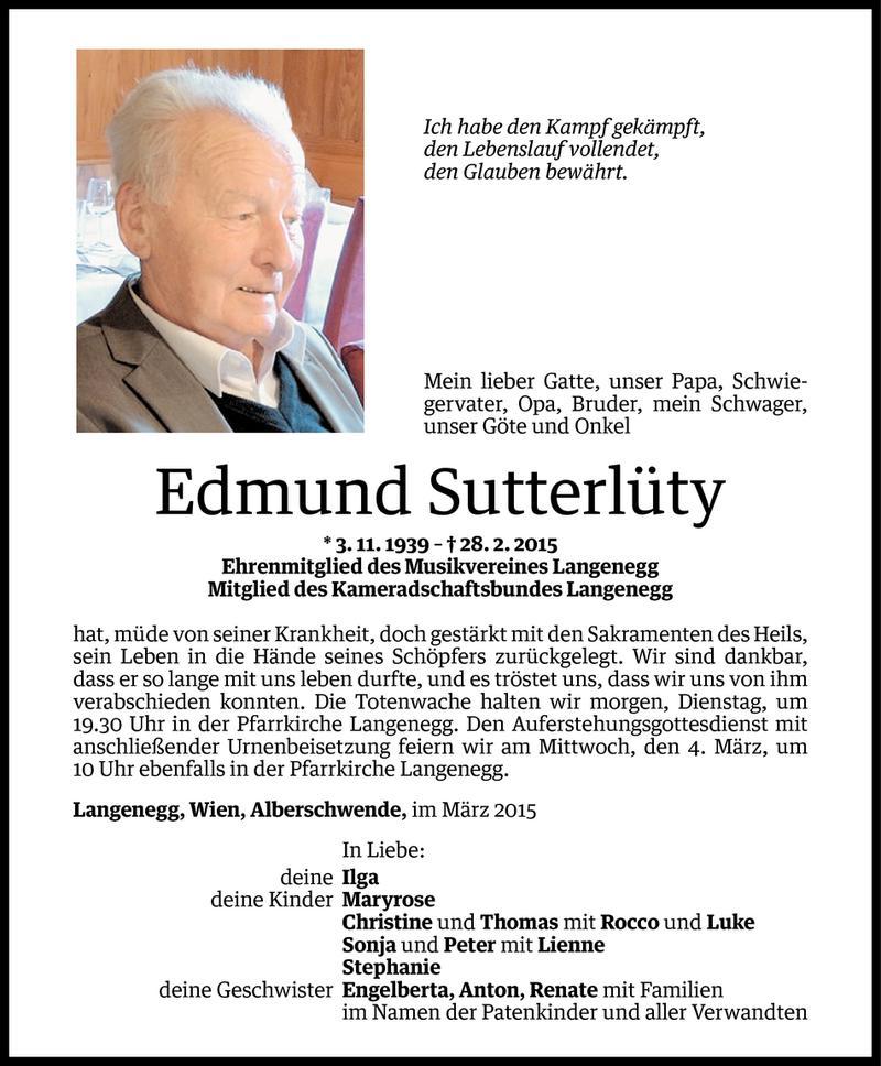 Todesanzeigen Von Edmund Sutterluty Todesanzeigen Vorarlberger Nachrichten