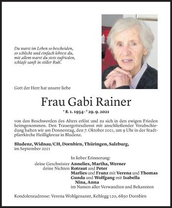 Todesanzeige von Gabi Rainer von Vorarlberger Nachrichten