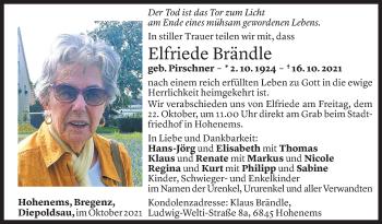 Todesanzeige von Elfriede Brändle von Vorarlberger Nachrichten