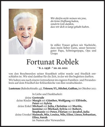 Todesanzeige von Fortunat Roblek von Vorarlberger Nachrichten