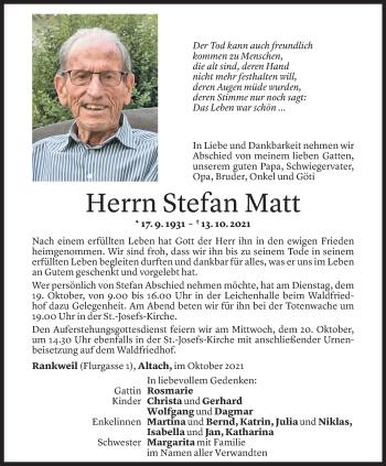 Todesanzeige von Stefan Matt von Vorarlberger Nachrichten