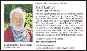 Todesanzeige von Karl Lampl von Vorarlberger Nachrichten