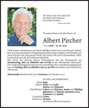 Todesanzeige von Albert Pircher von Vorarlberger Nachrichten