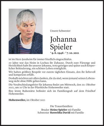 Todesanzeige von Johanna Spieler von Vorarlberger Nachrichten