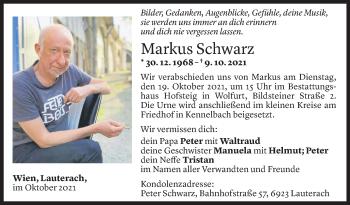 Todesanzeige von Markus Schwarz von Vorarlberger Nachrichten