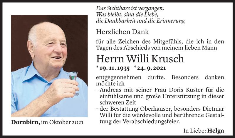 Todesanzeige für Willi Krusch vom 07.10.2021 aus Vorarlberger Nachrichten
