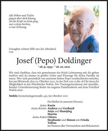 Todesanzeige von Josef Doldinger von Vorarlberger Nachrichten