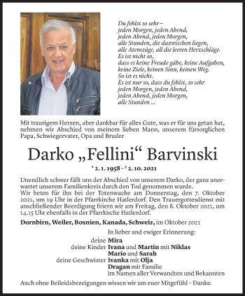 Todesanzeige von Darko Barvinski von Vorarlberger Nachrichten
