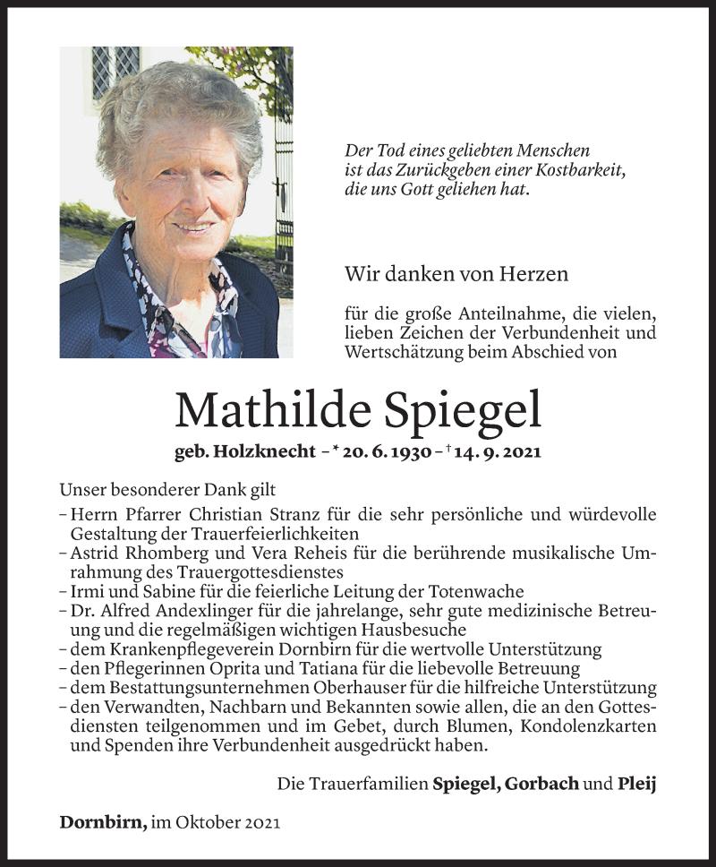 Todesanzeige für Mathilde Spiegel vom 14.10.2021 aus Vorarlberger Nachrichten