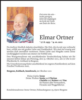Todesanzeige von Elmar Ortner von Vorarlberger Nachrichten