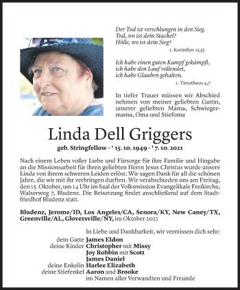 Todesanzeige von Linda Dell Griggers von Vorarlberger Nachrichten
