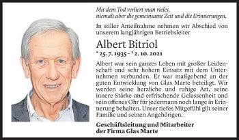 Todesanzeige von Albert Bitriol von Vorarlberger Nachrichten