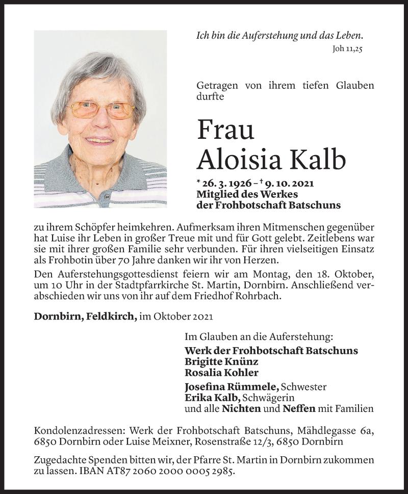 Todesanzeige für Aloisia Kalb vom 12.10.2021 aus Vorarlberger Nachrichten