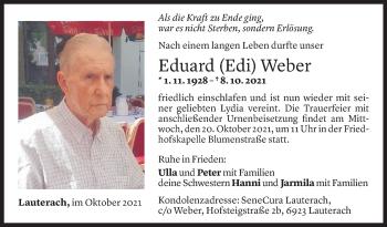 Todesanzeige von Eduard Weber von Vorarlberger Nachrichten