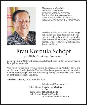 Todesanzeige von Kordula Schöpf von Vorarlberger Nachrichten