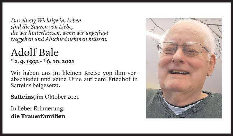 Todesanzeige für Adolf Bale vom 13.10.2021 aus Vorarlberger Nachrichten
