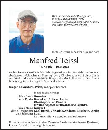 Todesanzeige von Manfred Teissl von Vorarlberger Nachrichten