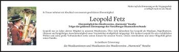 Todesanzeige von Leopold Fetz von Vorarlberger Nachrichten