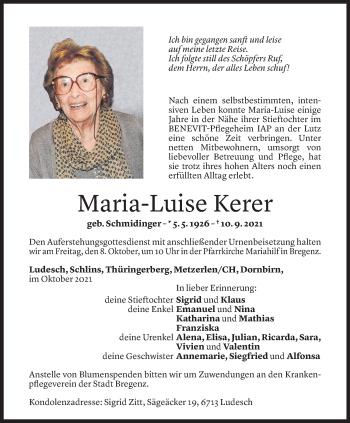 Todesanzeige von Marie-Luise Kerer von Vorarlberger Nachrichten