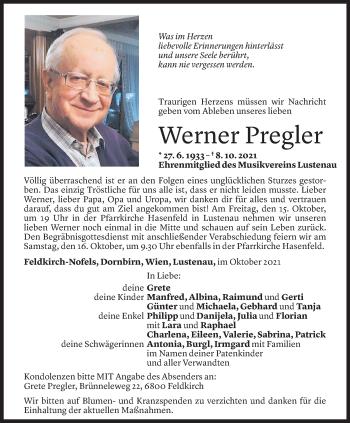 Todesanzeige von Werner Pregler von Vorarlberger Nachrichten