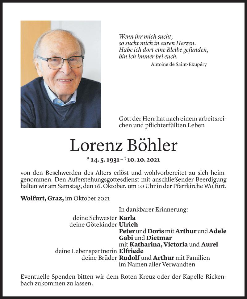 Todesanzeige für Lorenz Böhler vom 13.10.2021 aus Vorarlberger Nachrichten