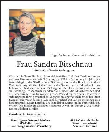 Todesanzeige von Sandra Bitschnau von Vorarlberger Nachrichten