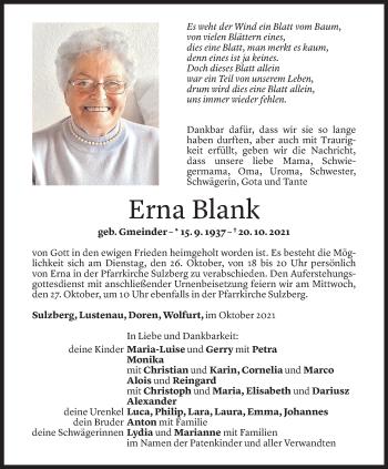 Todesanzeige von Erna Blank von Vorarlberger Nachrichten