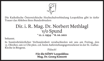 Todesanzeige von Norbert Methlagl von Vorarlberger Nachrichten