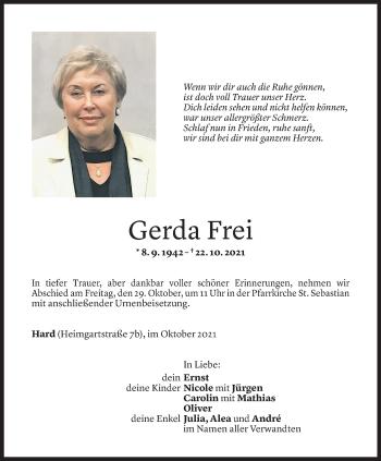Todesanzeige von Gerda Frei von Vorarlberger Nachrichten