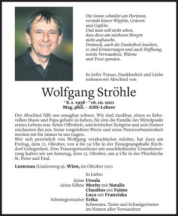 Todesanzeige von Wolfgang Ströhle von Vorarlberger Nachrichten