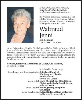 Todesanzeige von Waltraud Jenni von Vorarlberger Nachrichten
