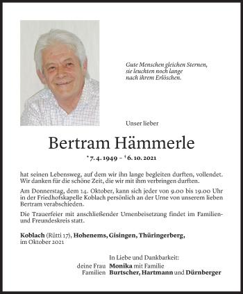 Todesanzeige von Bertram Hämmerle von Vorarlberger Nachrichten