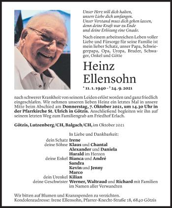 Todesanzeige von Heinz Ellensohn von Vorarlberger Nachrichten