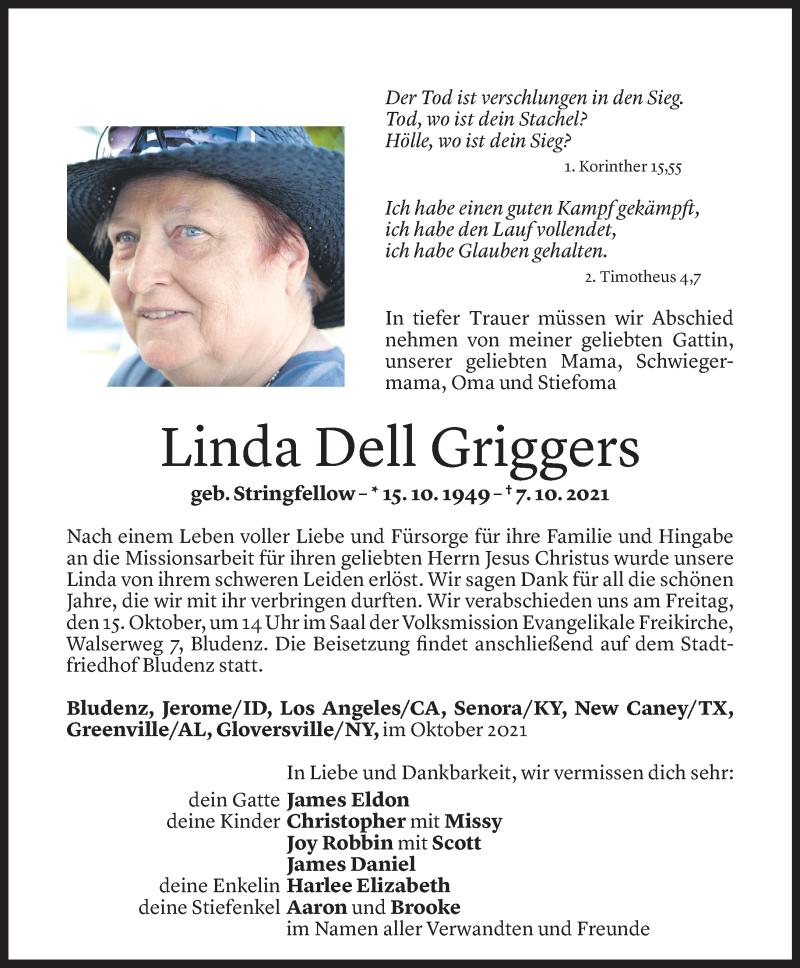 Todesanzeige für Linda Dell Griggers vom 13.10.2021 aus Vorarlberger Nachrichten