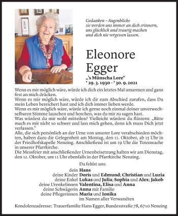 Todesanzeige von Eleonore Egger von Vorarlberger Nachrichten