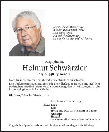 Todesanzeige von Helmut Schwärzler von Vorarlberger Nachrichten