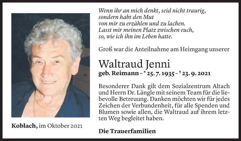 Todesanzeige für Waltraud Jenni vom 13.10.2021 aus Vorarlberger Nachrichten