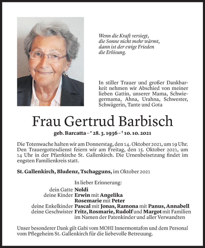 Todesanzeige für Gertrud Barbisch vom 11.10.2021 aus Vorarlberger Nachrichten