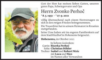 Todesanzeige von Zvonko Perhoc von Vorarlberger Nachrichten