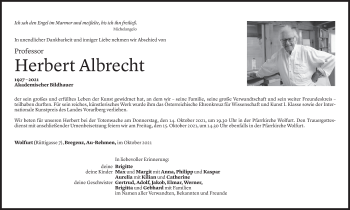 Todesanzeige von Herbert Albrecht von Vorarlberger Nachrichten