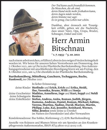 Todesanzeige von Armin Bitschnau von Vorarlberger Nachrichten