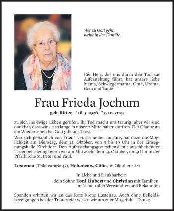 Todesanzeige von Frieda Jochum von Vorarlberger Nachrichten