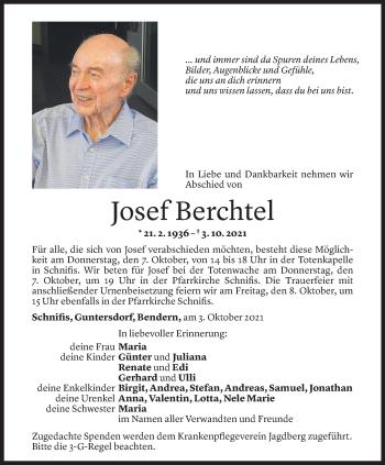 Todesanzeige von Josef Berchtel von Vorarlberger Nachrichten