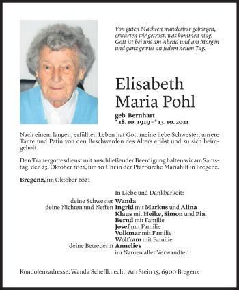Todesanzeige von Elisabeth Maria Pohl von Vorarlberger Nachrichten