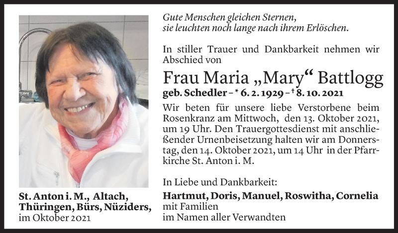 Todesanzeige für Maria Battlogg vom 12.10.2021 aus Vorarlberger Nachrichten
