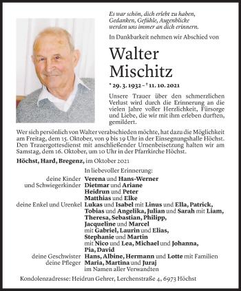 Todesanzeige von Walter Mischitz von Vorarlberger Nachrichten