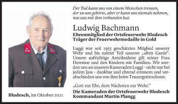 Todesanzeige von Ludwig Bachmann von Vorarlberger Nachrichten