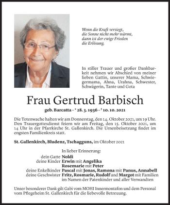 Todesanzeige von Gertrud Barbisch von Vorarlberger Nachrichten