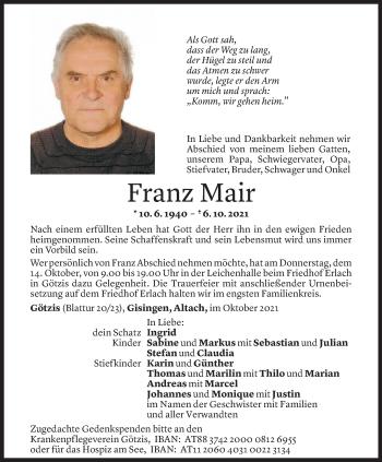 Todesanzeige von Franz Mair von Vorarlberger Nachrichten