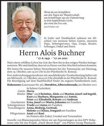 Todesanzeige von Alois Buchner von Vorarlberger Nachrichten